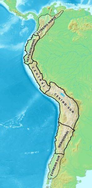 Mapa cordillera de los Andes