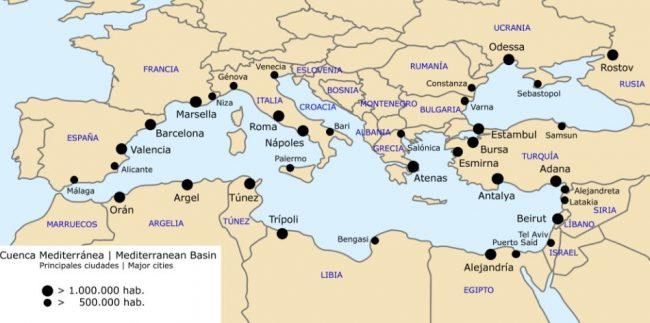 Mapa del Mar Mediterraneo