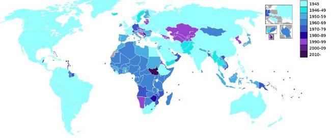 Países miembros de las Naciones Unidas por año