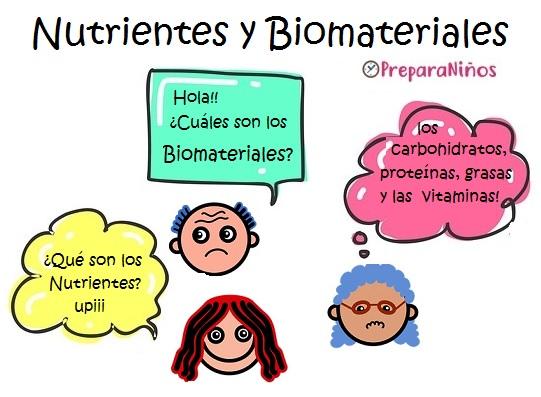 Los Nutrientes y Biomateriales Explicación para Niño