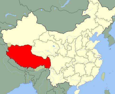 Tibet en el mapa de China